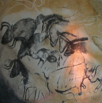 Painting with horses, oxen and rhinos in the Chauvet cave