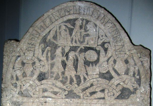 Gotland picture stone with the Gods Odin, Thor and Frey