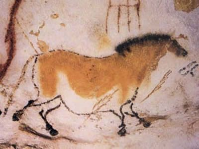 Painting of a wild horse in the Lascaux cave