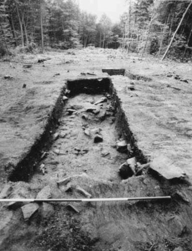 Excavation of Viking burial mounds in Heath Wood