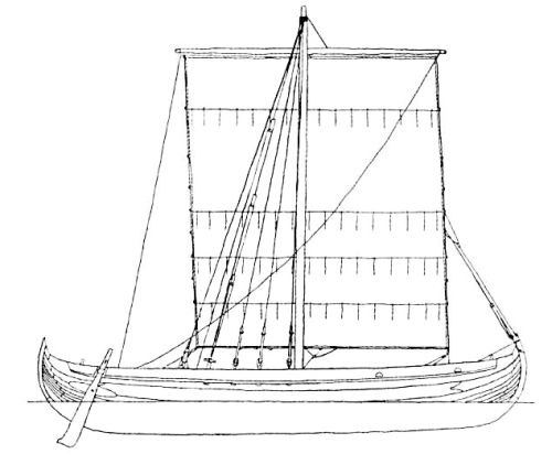 Drawing of Ottar, a reconstruction of Skuldelev 2