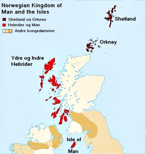 The isle of Man and the outer and inner Hebrides belonged to the Norwegian king