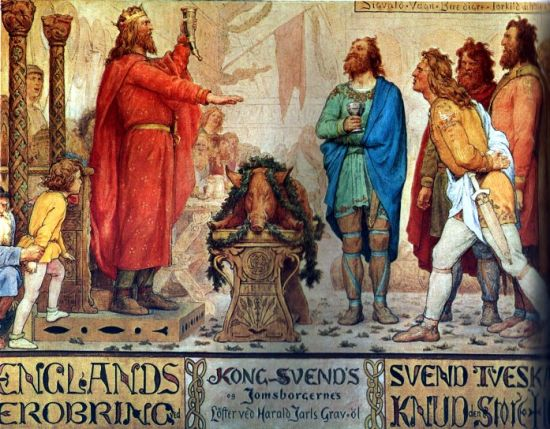 Sweyn Forkbeard vow to conquer England at the arve-beer after his father Harald Bluetooth.