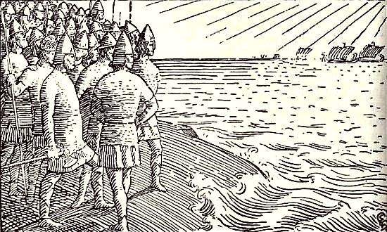 The kings stand on the island of Svold and see Olaf Tryggvason's ships sail by