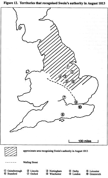 Areas which recognized Sweyn as king in August year 1013