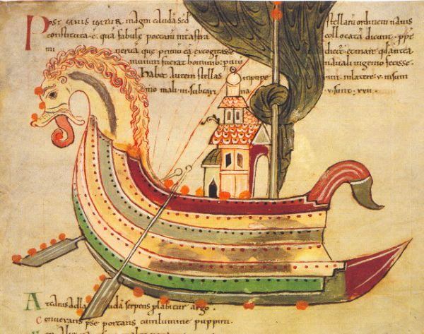 Viking Ship in a manuscript from Northumbria