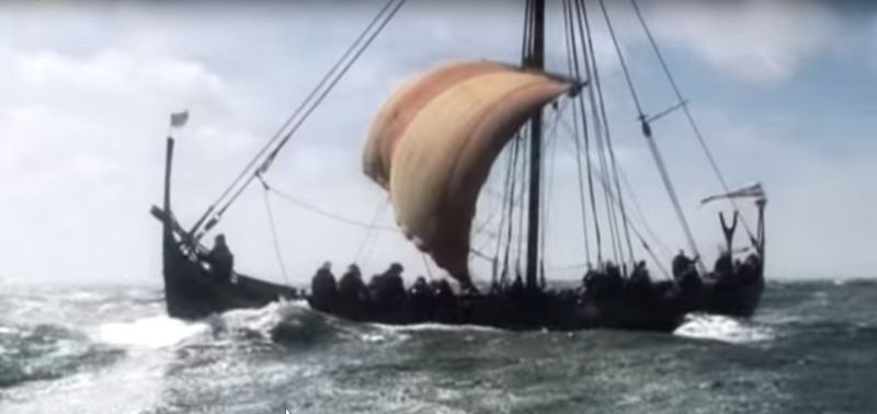 Vikingship on journey across the North Sea.