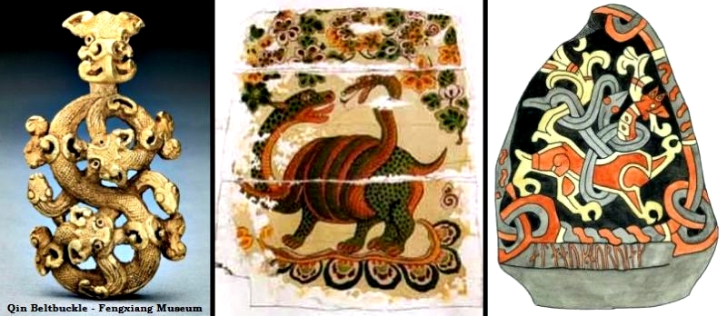 The motif animals fighting snake from China and Jelling