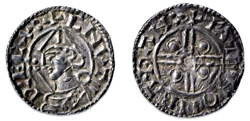 A silver penny minted by King Canute.