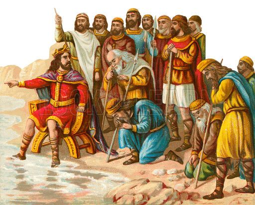 Canute giving order to the sea