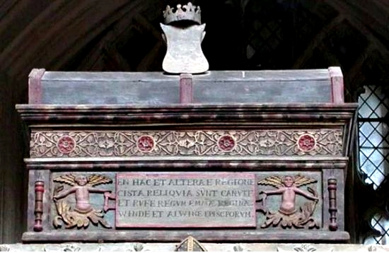 Canute and Emma's coffin in Winchester Cathedral