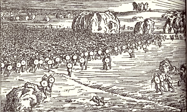 The peasants' army going against Stiklestad