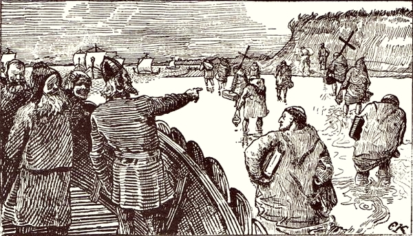 Haakon Jarl sends the learned men ashore