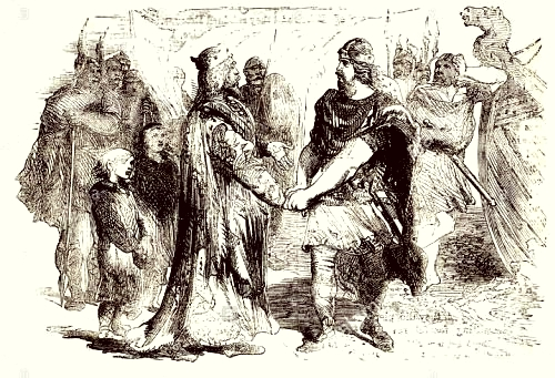 Edmund Ironside and Canute meet on the island of Olney