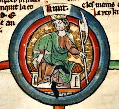 King Canute in old English manuscript