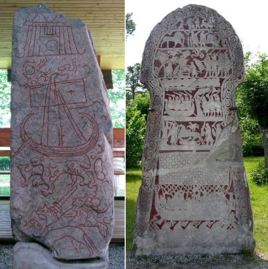 Rune stone with images of ships