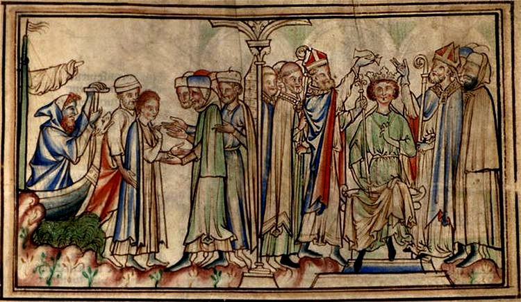 Medieval illustration which  shows Edward's reception in England and his coronation