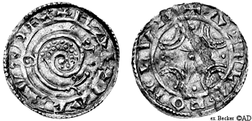 Coin minted in Lund with Hardicanute's name