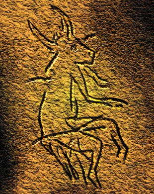 Creature, half ox and half man found in a Cro Magnon cave in the Dordogne in France