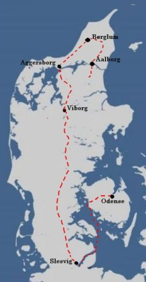 Canute the Holy's escape route in 1086