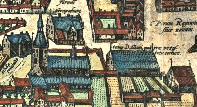 St. Alban's Church on a section of Braunius' Odense Map from 1593.