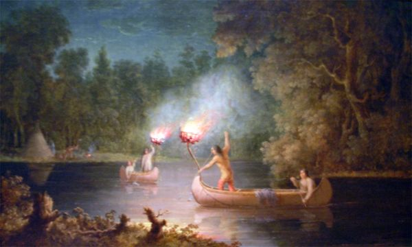 Painting of North American Indians flaring for eels and salmon