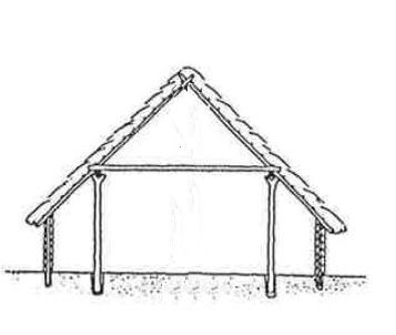 Reconstruction of cross-section of Bronze Age house