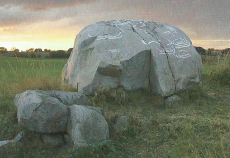 Rock carvings on a passage grave from the Neolithic period at Gladsax in Scania