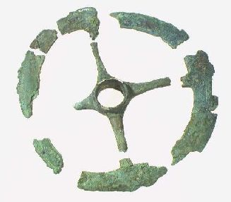 Bronze wheels from a grave near Tobøl at Kongeåen