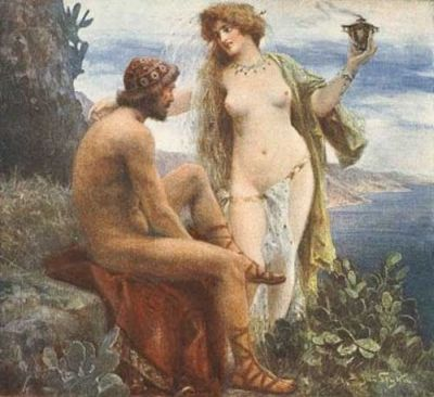 The nymf Calypso and Odysseus