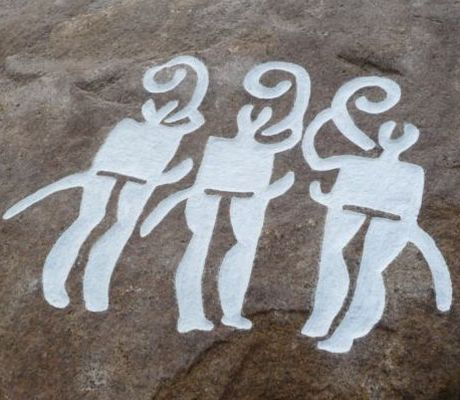 Petroglyph with three lur players