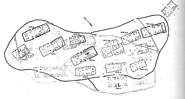 Plan of the Iron Age village Green Toft from the Celtic Iron Age