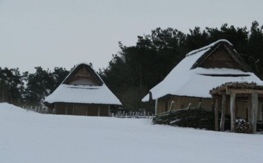 Iron Age village at Hvolris near Viborg in December