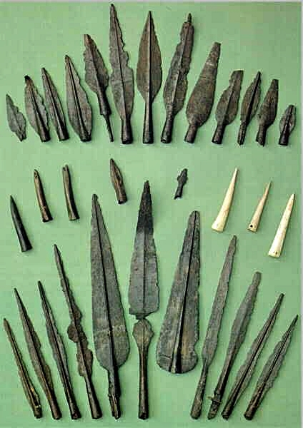 A selection of spearheads of iron, antler and bone found in Hjortspring Mose