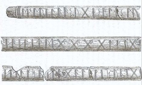 Lance shaft with runic inscriptions from Kragehul