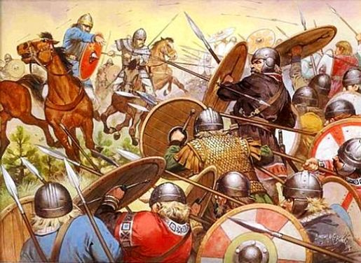 Europe Around 500 AD An Artistic Reproduction Of The Goths In Battle At Chalons