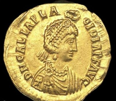 Portrait of Galla Placidia on  medallion