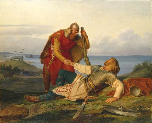 Hjalmar farewell to Orvar Odd after the fight on Samsø