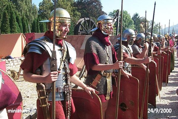 A reconstruction of Roman  legionaries