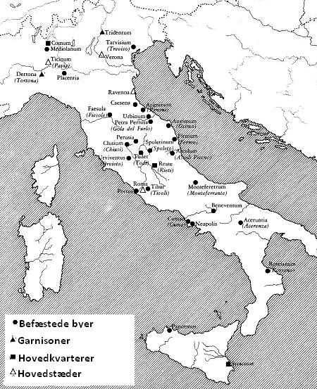 Gothic military installations in Italy during the war against Constantinople
