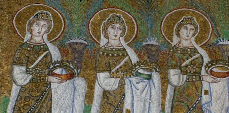 Three of the 22 female martyrs in Basilica of Sant'Apollinare Nuovo in Ravenna