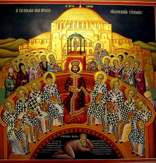 Constantine presiding over the synod of Nicaea