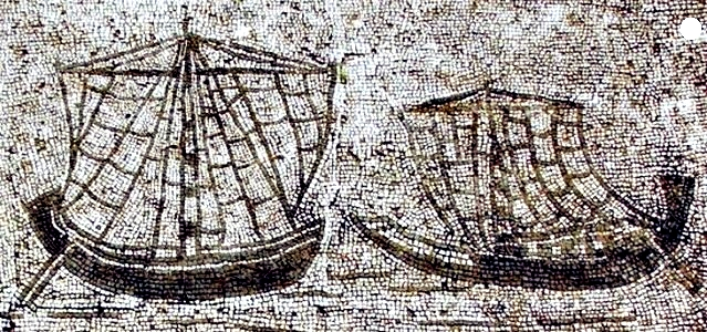Mosaic showing Roman vessels  from late imperial age