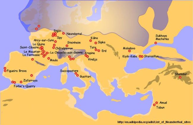 Map of  Neanderthal sites in Europe