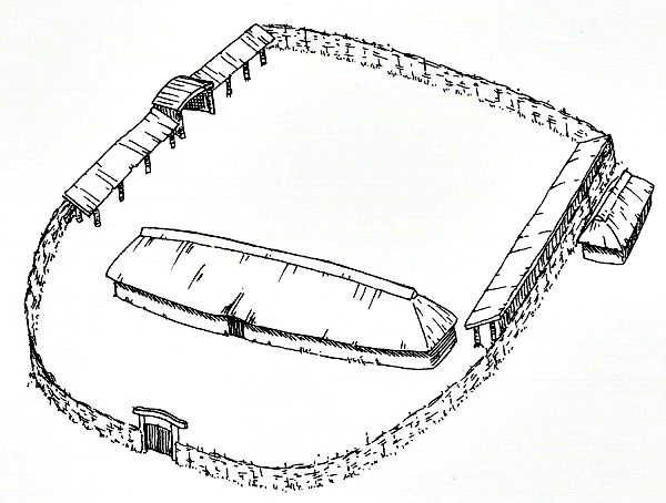 Graphical reconstruction of farm from Germanic Iron Age