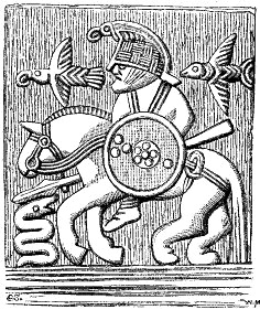 Odin on a helmet plate from Gammel Uppsala