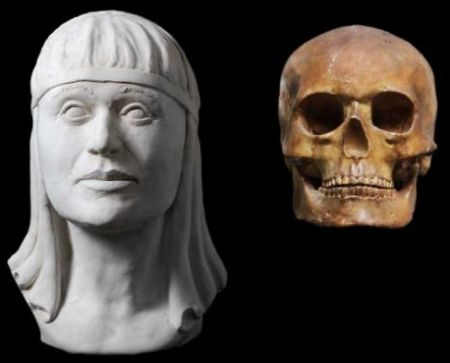 Queen Sofia's skull and a reconstruction of her face