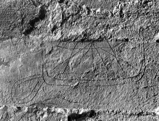 Ship from the 1100's engraved in a window opening in Horbelev Church