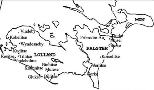 Vendish place names on the islands of Lolland Falster