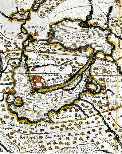 Map of Soroe drawn by cartographer Johannes Mejer about 1650